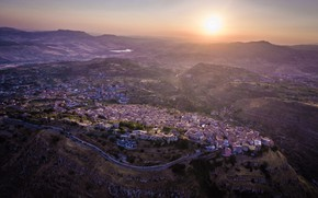 Picture Sicily, Assoro, Italy, mountains, home, panorama