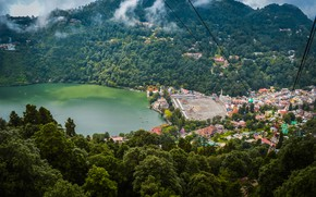 Picture India, the view from the top, mountains, home, trees, lake, Nainital Uttarakhand, forest