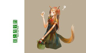 Picture surprise, tail, red, grey background, ears, the question mark, Spice and Wolf, Holo, Spice and …