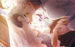 Picture light, kiss, hands, tear, veil, lace, art, wedding, visual novel, Bishop, the bride and groom, …