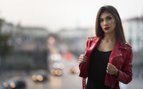 Picture look, face, background, model, lipstick, jacket, red, leather, Daniela