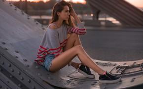 Picture girl, pose, feet, sweater, Denis Antipin