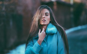Picture winter, girl, snow, portrait, makeup, hairstyle, brown hair, coat, bokeh