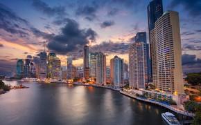 Picture river, building, home, Australia, promenade, skyscrapers, Australia, Queensland, Brisbane, Brisbane, QLD, The Brisbane River, Brisbane …