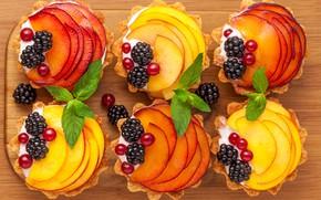 Wallpaper dessert, cake, BlackBerry, apples, currants