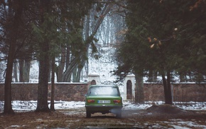 Picture retro, green, Soviet, Lada, VAZ-2101