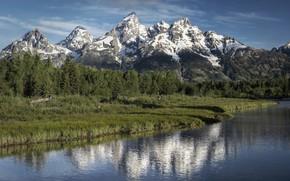 Wallpaper landscape, mountains, reflection, lake