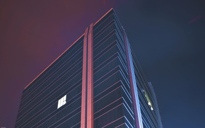 Picture glass, night, city, the city, the building, Windows, skyscraper, neon, windows, glass, night, skyscraper, neon, …