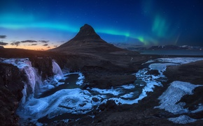 Picture the sky, stars, night, Northern lights, the evening, morning, Iceland, mountain Kirkjufell