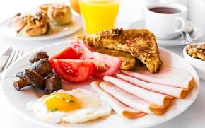 Picture Mushrooms, Plate, Tomatoes, Food, Breakfast, Sausage, Scrambled eggs, Bread