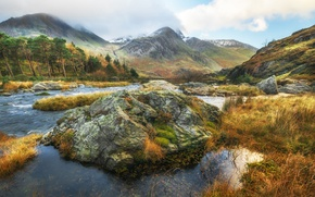 Picture trees, landscape, mountains, river, stones, stream, Wales