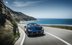 Picture car, Maserati, girl, logo, sky, sea, woman, man, asphalt, Maserati GranCabrio