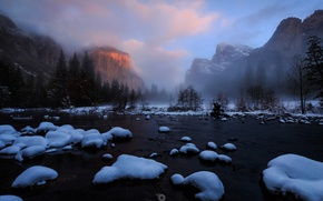 Picture winter, snow, mountains, nature, river