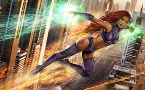 Wallpaper energy, girl, hair, red, girl, alien, fly, face, hero, DC Comics, Museum of Contemporary Art, ...