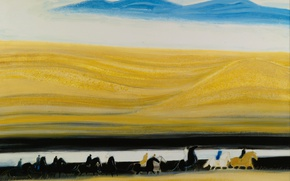 Picture landscape, picture, horse, riders, Blue Mountains, Andre Brasilier