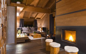 Picture interior, fireplace, living room, Cozy Chalet in Italy