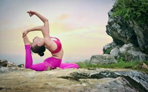 Picture girl, nature, pose, gymnastics, yoga