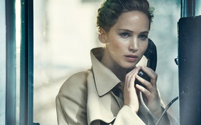 Wallpaper tube, makeup, actress, brunette, hairstyle, phone, booth, cloak, photoshoot, Jennifer Lawrence, Jennifer Lawrence, Vanity Fair, ...