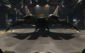 Wallpaper station, Gladius, hangar, starship, Star Citizen