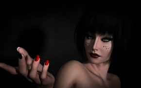 Picture girl, hand, black background