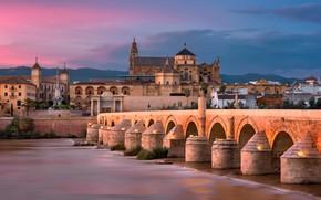 Wallpaper river, Roman bridge, the sky, lights, home, architecture, glow, Spain, bridge, Cordoba