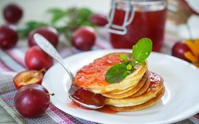 Picture Breakfast, plate, mint, jam, drain, pancakes