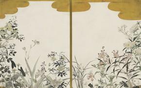 Picture 1940, Tsuguharu, Fujita, Flowers (two panels screens), oil and gold leaf