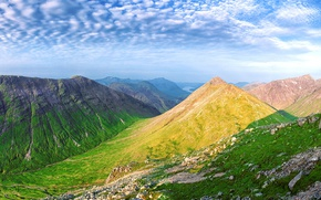 Picture clouds, mountains, nature, valley, panorama