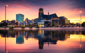 Picture night, lights, reflection, Netherlands, Rotterdam, St. Lawrence's Church
