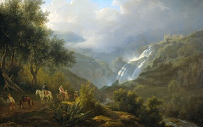 Picture landscape, oil, picture, canvas, Abraham Teerlink, Cascatelle waterfall in Tivoli Before the Storm