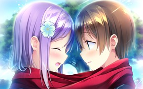 Picture romance, anime, art, two, omoi o sasageru otome no melody