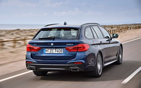 Picture road, field, movement, markup, BMW, roadside, universal, xDrive, Touring, 530d, 5, dark blue, 2017, 5-series, ...