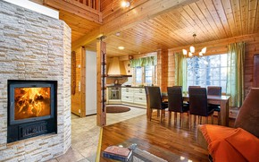 Picture tree, interior, kitchen, fireplace, dining room