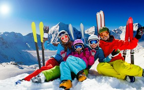 Picture winter, the sun, landscape, mountains, rocks, stay, sport, ski, family, glasses, gloves, skiers, pants, costumes, …