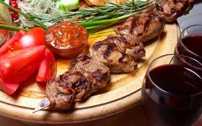 Picture greens, wine, meat, tomato, kebab, rosemary, adjika