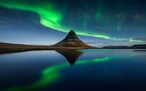 Picture the sky, stars, night, mountain, Northern lights, Iceland, the fjord, Kirkjufell, Kirkjufell