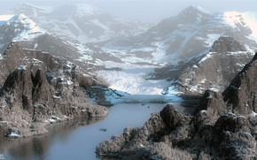 Picture mountains, pond, Glacier bay