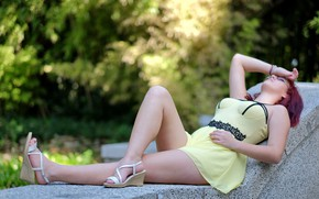 Picture summer, girl, stay, dress, legs