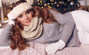 Picture hair, scarf, gloves, sweater, girl, look