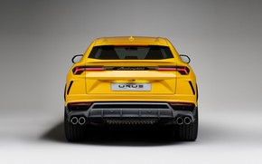 Picture Lamborghini, rear view, yellow, 2018, Urus