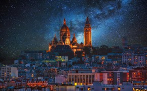 Wallpaper the milky way, stars, Montmartre, Paris, France, night, lights