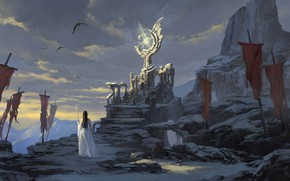 Picture fantasy, magic, long hair, mountains, rocks, birds, ruins, artwork, princess, fantasy art, Elf, throne, pointed …