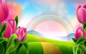 Wallpaper brightness, tulips, figure, rainbow, flowers