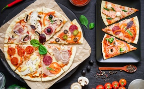 Wallpaper Italian, meat, spices, sauce, pizza, cheese, pizza, tomato, the dough, mushrooms, vegetables, cakes, ingredients, cuts, ...