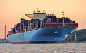 Picture The ship, Line, A container ship, Maersk, Maersk Line, Maersk Edinburgh