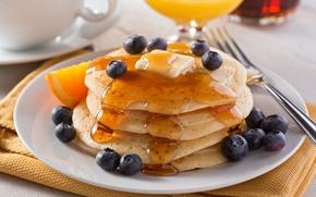 Picture Breakfast, blueberries, juice, honey, pancakes