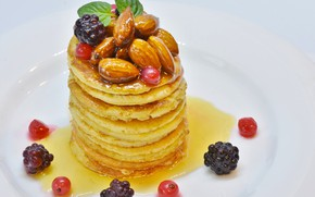 Picture berries, honey, nuts, Pancakes