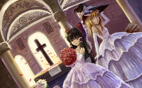 Picture cross, Church, broom, the altar, art, wedding dress, bride, a bouquet of roses, witch hat, …