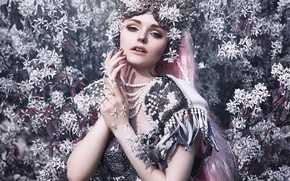Picture girl, decoration, flowers, style, outfit, pink hair, Bella Kotak, Jodi Lakin