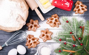 Picture holiday, new year, eggs, cookies, flour, treat